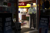 06-04-2013 - Cardboard cutout Policeman, intended to prevent crime and reduce the perception of fear of crime. They have been deployed in petrol stations to deter drivers from driving away without paying for their... © John Harris