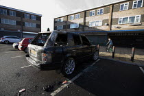 08-12-2012 - A burnt out Land Rover Vogue SUV car, Hodge Hill, a poor area of Birmingham © John Harris