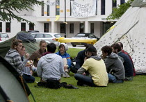 22-06-2013 - Students in discussion use hand signals used by Occupy protesters to negotiate a consensus in the camp outside the occupied building. Protect The Public University, student Occupation of Warwick Unive... © John Harris