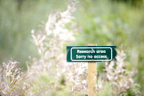 15-09-2013 - A sign warning of no access to a long-term study and research area run by Wild Warwickshire into the wildlife and botany of a mill pond area. Saxon Mill, Warwickshire © John Harris