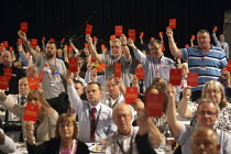 10-09-2014 - TUC shows Qatar the red card, and voted unanimously for Motion 75 Qatar to strip Qatar of the World Cup in protest at the exploitation of migrant workers TUC, Liverpool 2014 © John Harris