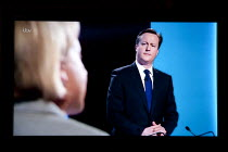 04-02-2015 - David Cameron, Conservatives listening to Natalie Bennett, Green Party. Stills from a TV showing The ITV Leaders' Debate watched by more than 7 million, UK General Election Campaign television program... © John Harris