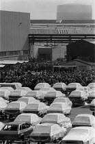 04-03-1983 - Car workers at a trades union mass meeting, British Leyland car factory Cowley Oxford 1983 during a strike over hand washing times © John Harris