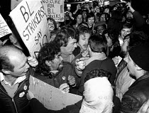 02-10-1981 - Striking British Leyland car workers lobby trade union officials against acceptance of 3.8% pay offer Birmingham 1981 © John Harris