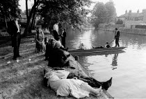 04-05-1983 - Students punting on the river, dawn, May Balls 1983 Cambridge © John Harris