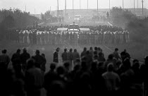 02-10-1984 - Striking miners mass picket confronting riot police 1984, Thurcroft pit South Yorkshire © John Harris