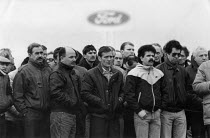 18-02-1988 - Worried Ford car workers mass meeting 1988 about the future of the factory and redundancies, Halewood Cheshire © John Harris