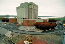 30-11-1999 - Berkley BNFL Nuclear power station on the severn estuary. The first Magnox reactor it is now slowly being decommissioned. The boilers are now laid on their sides © John Harris