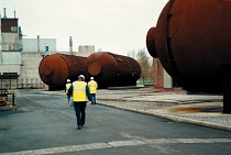 30-11-1999 - Contractors on site Berkley BNFL Nuclear power station on the severn estuary. The first Magnox reactor it is now slowly being decommissioned. The boilers are now laid on their sides © John Harris