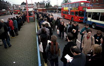 05-02-2001 - Commuters join long queues for buses at Golders Green Station. ALSEF and RMT day of action over safety concerns about PPP and privatisation on the London underground. © Jess Hurd