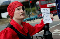 10-09-2003 - Protester at the Defence Systems and Equipment International Arms Fair at the Excel Centre, London. © Jess Hurd