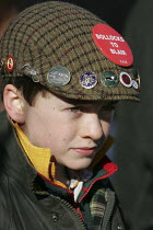 19-02-2005 - Young fox hunting supporter says Bollocks to Blair as Belvoir, Cottesmore, Oakley Foot Beagles and Quorn hunts meet in Melton Mowbray for the first time after the ban on hunting with dogs came into fo... © Jess Hurd