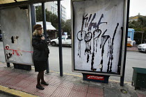 23-12-2008 - Anti police graffiti from demonstrations called after the fatal shooting by the police on Dec. 6 of a 15-year-old, Alexandros Grigorolopoulos. Athens, Greece © Jess Hurd