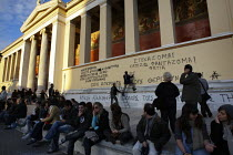 19-12-2008 - Students graffiti the University building after the fatal shooting by the police on Dec. 6 of a 15-year-old, Alexandros Grigorolopoulos. Athens, Greece © Jess Hurd
