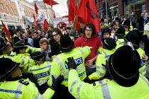 31-10-2009 - UAF protestors. English Defence League march in Leeds is countered by Unite Against Fascism. © Jess Hurd