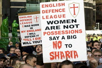 31-10-2009 - English Defence League march in Leeds - women are not possessions say no to Sharia © Jess Hurd