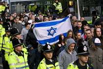 31-10-2009 - Israeli flag EDL protest. English Defence League march in Leeds © Jess Hurd