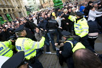 31-10-2009 - Police fail to contain EDL supporters as they break the cordon and rampage on the street. English Defence League march in Leeds © Jess Hurd