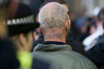 31-10-2009 - Tattoed neck. English Defence League march in Leeds © Jess Hurd