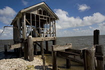 22-08-2010 - A fishing community in Barataria Bay which has been destroyed by erosion from the oil pipelines and Katrina. Louisiana. USA. © Jess Hurd