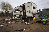 21-12-2011 - A derelict and vandalised caravan on Dale Farm traveller site post eviction. Travellers report that the site and water supply is conaminated, after Basildon council bailiffs bulldozed the site, remove... © Jess Hurd