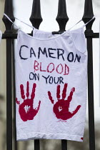 03-30-2013 - Cameron Blood on your Hands. Protest against the Bedroom Tax and welfare cuts to social housing and benefits. March to Downing Street. London. © Jess Hurd