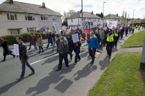 04-05-2013 - English Defence League march against a proposed Muslim community Centre which would redevelop a disused pub in Moortown, Leeds. © Jess Hurd