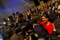 18-09-2013 - Nick Clegg MP embracing his partner Miriam in a press scrum. Liberal Democrats Conference, Glasgow. © Jess Hurd