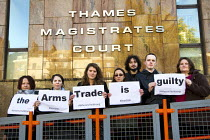 04-11-2013 - DSEI peace protesters arrested during direct action at the arms fair appear at Thames Magistrates Court, East London © Jess Hurd