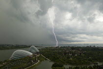 22-10-2013 - Lightening strike. Supertree Grove, Botanical Gardens by the Bay and the conservatory complex. Singapore. © Jess Hurd