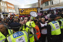 01-02-2014 - Usdaw and PCS anti fascists demonstrate in Slough against the English Defence League. © Jess Hurd