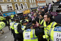 01-02-2014 - Riot police use horses against anti fascists protest in Slough against the English Defence League. © Jess Hurd