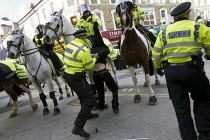 01-02-2014 - Riot police use horses against anti fascist protest in Slough against the English Defence League © Jess Hurd