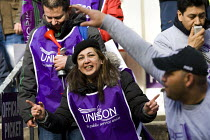 04-03-2014 - Unison cleaners at London School of Oriental and African Studies (Soas) 48-hour strike in a protest about discrimination. They are employed by outsourcing firm ISS, receiving less sick pay and fewer h... © Jess Hurd