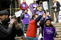 04-03-2014 - Dancing on the picket line. Unison cleaners at London School of Oriental and African Studies (Soas) 48-hour strike in a protest about discrimination. They are employed by outsourcing firm ISS, receivi... © Jess Hurd