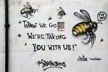 21-05-2014 - Save the Bees graffiti. Artist Louis Masai raising awareness of a potential eco-catastrophe with his #saveTheBees mural. East London. © Jess Hurd