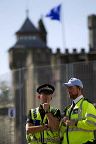 31-08-2014 - Policing around the security fence at Cardiff Castle, a NATO Summit venue, Cardiff, South Wales. © Jess Hurd
