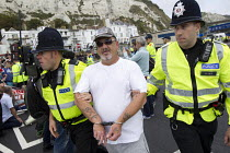 27-09-2014 - Far right groups gather at the Port of Dover in a protest against immigration and in support of truck drivers. Kent. © Jess Hurd