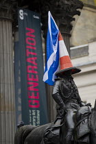 19-09-2014 - Yes Campaign. A statue of Wellington with traffic cone and Scottish flag the day after polling day in the Scottish Independence Referendum. Glasgow, Scotland. © Jess Hurd