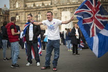 19-09-2014 - No Campaign, far right nationalists, taunt Yes Campaign in George Square the day after polling day in the Scottish Independence Referendum. Glasgow, Scotland. © Jess Hurd