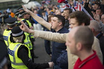 19-09-2014 - No Campaign, far right nationalists taunt Yes Campaign with Nazi Sieg Heil salutes in George Square the day after polling day in the Scottish Independence Referendum. Glasgow, Scotland © Jess Hurd