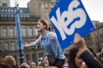 19-09-2014 - Yes Campaign as No Campaign, far right nationalists taunt Yes Campaign in George Square the day after polling day in the Scottish Independence Referendum. Glasgow, Scotland. © Jess Hurd