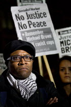 26-11-2014 - Brian Richardson of Love Music Hate Racism and the Haldane Society of Socialist Lawyers. Solidarity with Ferguson - Justice for Michael Brown. Protest began at the US Embassy and ended at Scotland Yar... © Jess Hurd