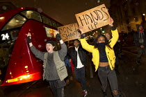 26-11-2014 - Hands up don't shoot! Solidarity with Ferguson - Justice for Michael Brown. Protest began at the US Embassy and ended at Scotland Yard. London © Jess Hurd