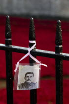 04-11-2014 - Inscription reads: John Adams, Kings Royal Rifles Corps. Died 3rd October 1916, age 28, Husband of Sarah. Ceramic poppies fill the Tower of London moat. Blood Swept Lands and Seas of Red, an art insta... © Jess Hurd