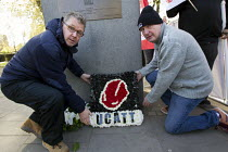 29-04-2015 - Laying a wreath from UCATT. International Workers Memorial Day rally beside the Building Worker statue, Tower Hill, London. © Jess Hurd