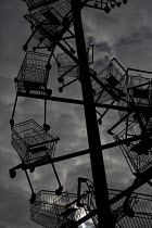 23-05-2015 - Detail from a sculpture of shopping trolleys called DNA DL90 on a site opposite an Amazon warehouse. The artwork by Abigail Fallis is part of The Line: a new modern art walk. Newham. East London. Comm... © Jess Hurd