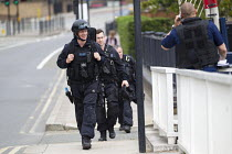 01-07-2015 - Armed police during an anti terrorism security simulation exercise, Wood Wharf, nr Canary Wharf, London Dockands © Jess Hurd