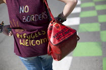 08-08-2015 - No Borders protest remembering refugees who have been killed Calais Ferry Terminal France. © Jess Hurd