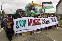 07-09-2015 - Stop DSEi arms fair protest prevents military vehicle entering ExCel centre London Stop Arming Israel. Defence Security and Equipment International exhibition © Jess Hurd